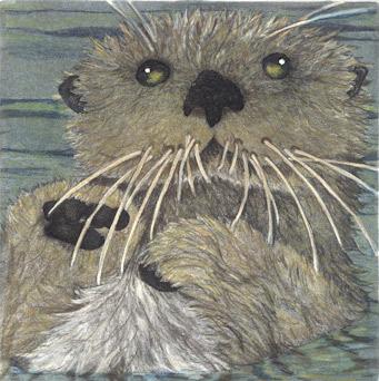 Otter - Original Etching 5 x 5