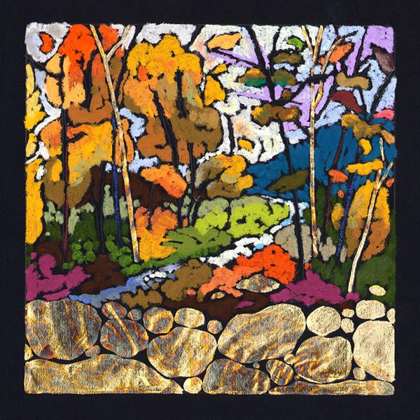 Splendor - Etching/Oil Pastel 9 x 9