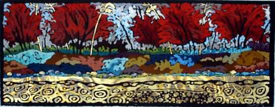 Crimson Row - Etching/Oil Pastel 9 x 24