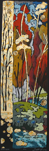 Equinox - Etching/Oil Pastel 5 x 14