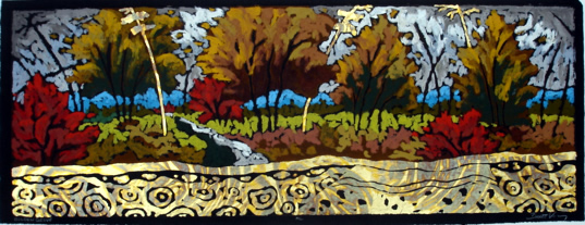 Golden Cove - Etching/Oil Pastel 9 x 24