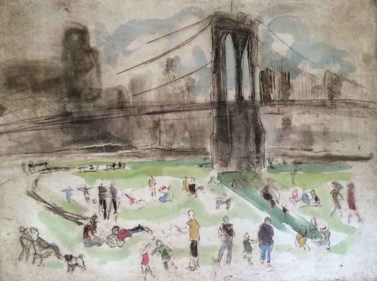 Brooklyn Bridge Park - Original Etching 18 x 24