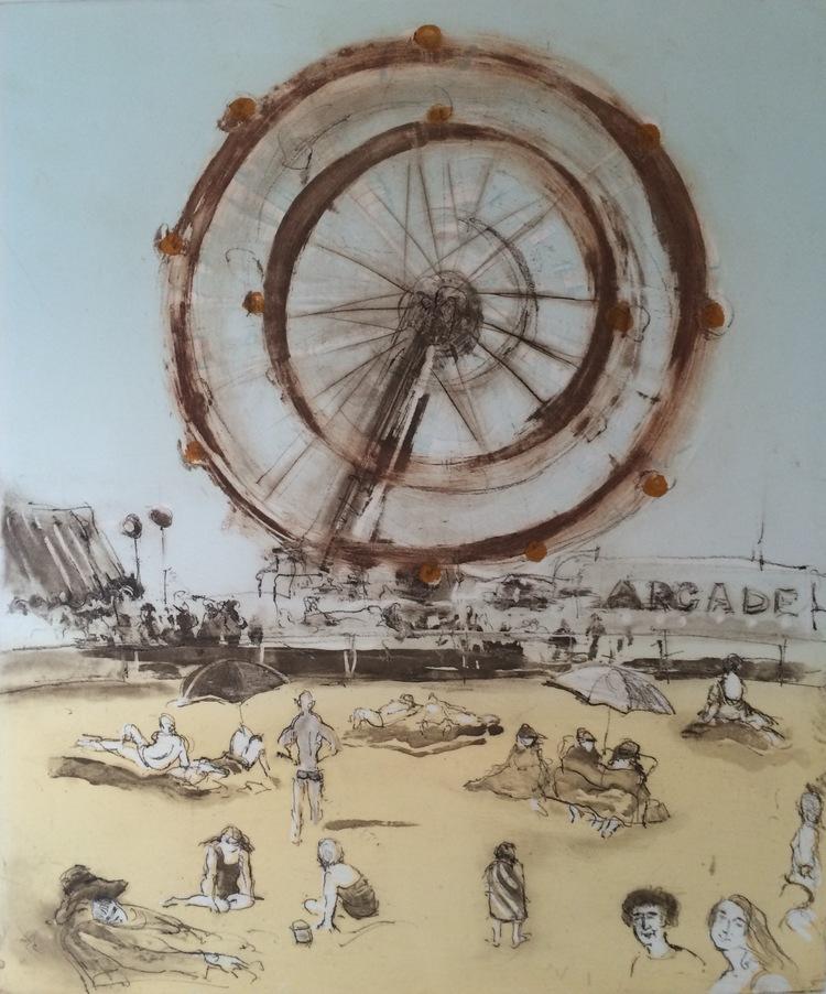 Coney Island - Original Etching 18 x 24