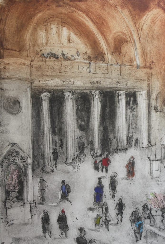 Great Hall at the Met - Original Etching 12 X 17