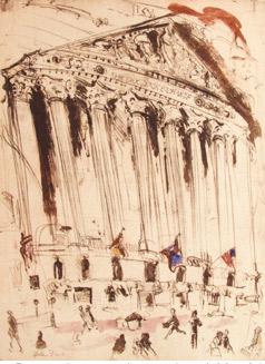 N.Y. Stock Exchange Exterior - Original Etching 17 x 23