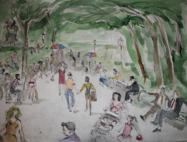 Lunchtime in Central Park - Original Etching 18 x 24