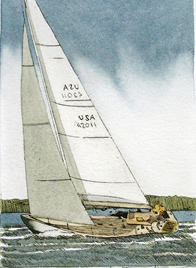 12 Meter Yacht - Original Etching    3.5 x 4.5