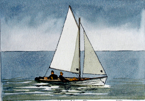 Sailing Along II - Original Etching    3.5 x 4.5