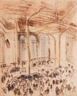 N.Y. Stock Exchange, Interior - Original Etching 16 x 20