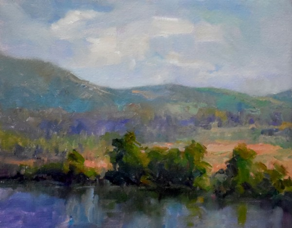 Afternoon View of the Hudson River - Original Oil  8x10