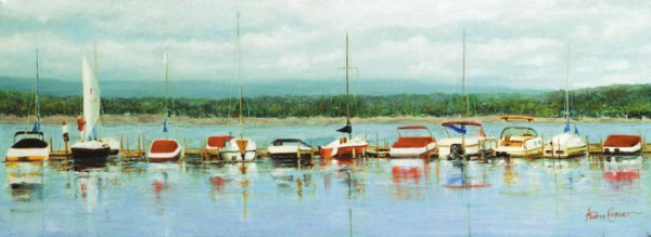 Long Boats - Original Oil 12 x 30
