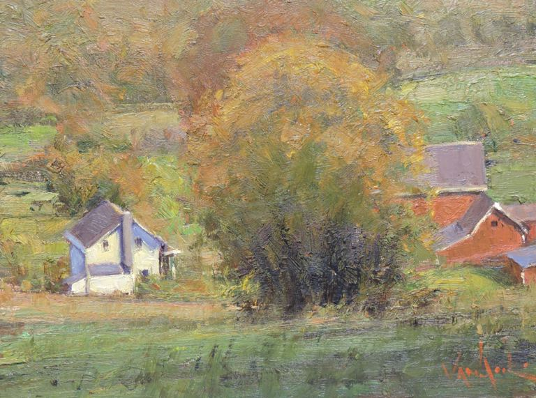 Autumn Barns - Original Oil 12 x 16