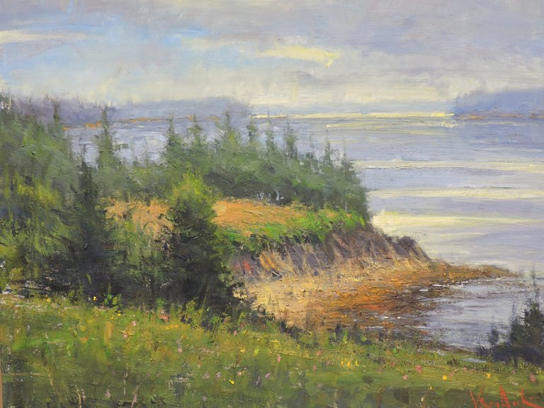 Island Hilltop Maine - Original Oil 20 x 24