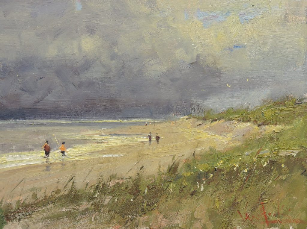 Walking the Beach - Original Oil 12 x 16